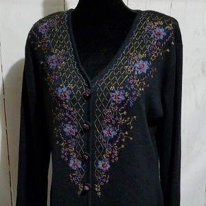 Carole Little Embroidered Floral Maxi Dress XL EUC